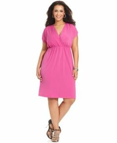 cheap plus size clothing - AGB Plus Size Dress Short-Sleeve Empire - hot pink.jpg