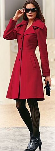 Red Tailored A-Line Coat