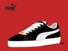 A PUMA Suede series' illustration.  PUMA Suede series shoes are the most popular PUMA shoes since 1968. Celebrating it's 50th Anniversary.