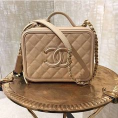 44d950863501 Chanel Beige CC Filigree Vanity Case Small Bag 3 Chanel Spring, Second  Skin, Chanel