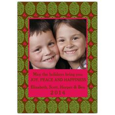 Holly Berry Brown Flat Holiday Photo Cards