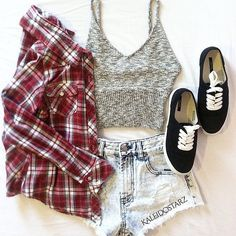 Gray Knit Top and Denim Shorts with Flannel and Black Vans