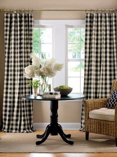Rod Pocket Curtains, Drapes, Buffalo Check Panel - Country Curtains®