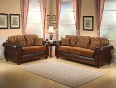 Furniture Design Living Room Sofas And Sets Sofa 2 Pc Heritage Two Tone Chocolate Fabric Leather Like Vinyl Upholstery