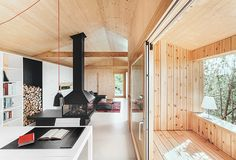 Dom Arquitectura have recently completed 'Casa estudio de madera', a small home/studio, located in Sant Cugat, Spain