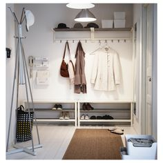 IKEA - TJUSIG, Bench with shoe storage, white, Holds a min. of 8 pairs of shoes. Coordinates with other products in the TJUSIG series. Shoe Storage White, Wall Shoe Storage, Bench With Shoe Storage, Hallway Storage, Ikea Hallway, White Hallway, Hallway Furniture, Furniture Ideas, Ikea Entryway