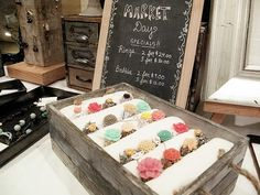 I like the chalk board idea and use of the card catalogue in the background Craft Show Booths, Craft Booth Displays, Ring Displays, Craft Show Ideas, Display Ideas, Market Displays, Store Displays, Craft Fair Table, Market Day Ideas