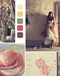 Girly Earthy Wedding Theme. Colors: Peach, Buff, Camouflage Green, Cerise, Bole.