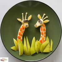 Funfood Giraffes. Bananas, apricot, pears and blueberries.