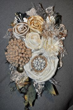 shabby chic silk white cream flower CORSAGE wedding dress sash pin brooch 20 cm