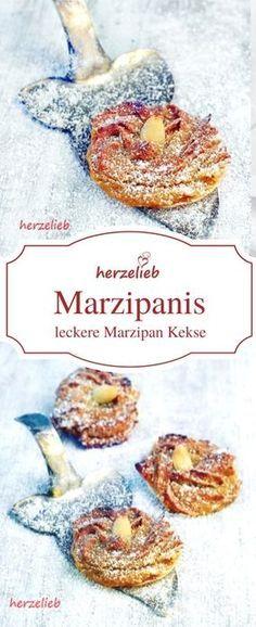 Kekse Rezepte: Marzpanis sind Plätzchen, die mit Marzipan gemacht werden. Das Rezept ist von herzelieb. #foodblog #deutsch #foodblogger