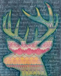 A Mind At Peace by Angela Anderson, Deer Art - Original Mixed Media Acrylic Painting