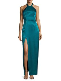 Halter Exposed Back Maxi Gown by ABS by Allen Schwartz at Gilt