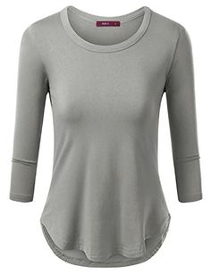 Womens 3/4 Long Sleeve Round Neck Unbalace Top T shirts -- More info could be found at the image url.