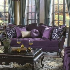 Discount Aico Furniture Lavelle Truffle Living Room Furniture Sofas Wood Trim Tufted Sofa-truffle Furniture On Sale Living Room Sets, Living Room Furniture, Living Room Decor, Furniture Decor, Purple Home, Purple Furniture, Purple Couch, Tufted Sofa, Townhouse