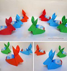 origami - conejos de Pascua plegados en papel