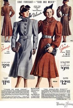 ADORED VINTAGE: Vintage 1930s Coats from Catalogs and Magazines color photo print ad brown grey wool