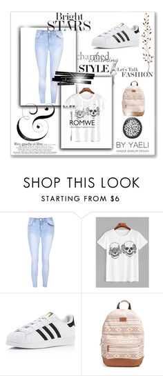 """""""ROMWE"""" by selma-imsirovic-01 ❤ liked on Polyvore featuring Glamorous, adidas, Rip Curl and Pier 1 Imports"""