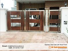 Completed Steel Gate With Wood Finish (Code Grill Gate Design, House Main Gates Design, Steel Gate Design, 2 Storey House Design, Front Door Design Wood, Front Gate Design, Door Gate Design, Stainless Steel Stair Railing, Stainless Steel Gate