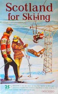 Scotland for Skiing 1956 vintage ski poster