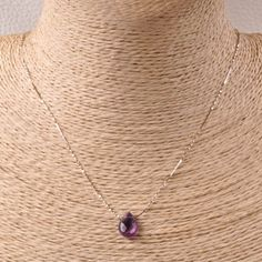"""NATURAL FACETED AMETHYST GEMSTONE 925 STERLING SILVER JEWELRY NECKLACE CHAIN 18"""""""