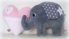 Accessoire zacht roze/wit wafelstof hartje en supersoft grijs olifantje