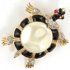Trifari 'Alfred Philippe' Black and Pearl Belly Ming Turtle Pin 1960s Version   eBay