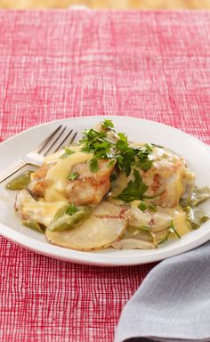 Slow-Cooker Cheesy Chicken & Potatoes — While you've been out, these chicken thighs and potatoes have been simmering away, getting more tender and flavorful.
