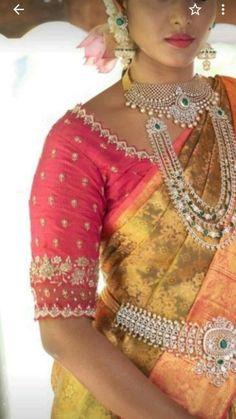 Blouse Back Neck Designs, Hand Work Blouse Design, Simple Blouse Designs, Stylish Blouse Design, Wedding Saree Blouse Designs, Pattu Saree Blouse Designs, Blouse Designs Silk, Designer Blouse Patterns, Sari Blouse