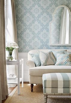 love the wallpaper, like the wavy throw pillow fabric