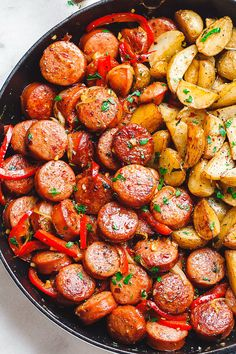 sausage recipes Smoked Sausage and Potato Skillet - Sizzle up a skillet full of delicious goodness with smoked sausage, potatoes, and bell peppers! Chicken Breast Recipes Dinners, Pork Recipes, Cooking Recipes, Healthy Recipes, Recipes With Potatoes, Golden Potato Recipes, Grilled Steak Recipes, Food Dinners, Cooking Pork