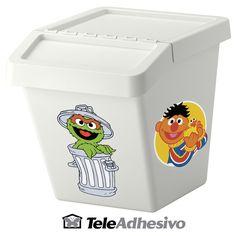 Decorar cubo de basura con dibujos de Barrio Sésamo #vinilo #decoracion #pared #barrio #sésamo #infantil #caja #cubo #TeleAdhesivo Container, Sesame Streets, Waste Container, Adhesive, Cubes, Decorated Boxes, Fabrics, Drawings