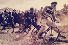 Britain, Urban cycle speedway racing became popular after WWII, in part due to the presence of large dirt lots at bombing sites. Youths nationwide raced brakeless bikes around flat oval tracks, often holding intercity races. Speedway Racing, Old Bikes, Vintage Bicycles, Parrots, Bmx, Biking, Marines, Wwii, Britain