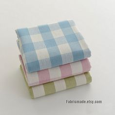 "Yarn Dye Cotton Linen Fabric/ Pastel Pink Blue Green With Beige Plaid Linen Fabric - 1/2 yard 18""X57"""