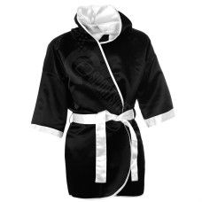 100% Custom Boxing Robe Supplier Durban South Africa, Boxing Gown/Robes made of heavy weight 100% polyester satin with waist belt with hood.