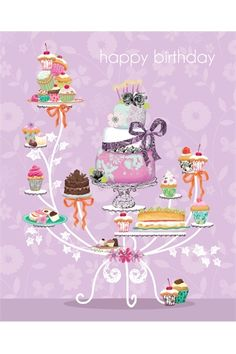 Girl Friends- Mixed pack of 15 cards - The Art File illustration desserts Happy Birthday Quotes, Happy Birthday Images, Happy Birthday Greetings, Birthday Messages, Birthday Pictures, Birthday Pins, Birthday Cakes, Birthday Blessings, Happy B Day