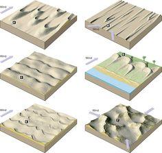 a-barchan dune  b-longitoidinal dune  c-transvers dune  d- parabolic  e-barchanoid  f-star