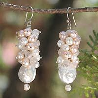 Pearl and rose quartz cluster earrings, 'Clusters'