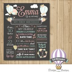 First Birthday Chalkboard Sign Hot Air Ballon Up Up and