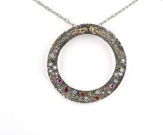 Gold Fusion Circle Pendant with Gemstones Waylon Rhoads Jewelry Bend, Oregon