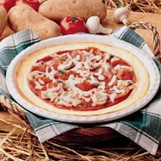 Potato Crust Pizza Ingredients      3 cups mashed potatoes (prepared with milk)      1 Eggland's Best Egg, beaten      1/2 cup grated Parmesan cheese     2 tablespoons butter, melted      1-1/2 teaspoons salt      1 can (8 ounces) pizza sauce     3 ounces sliced pepperoni     4 fresh mushrooms, sliced      1 cup (4 ounces) shredded mozzarella cheese More @ tasteofhome.com