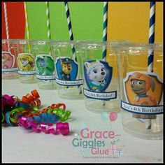 12 Personalized P. Patrol Inspired Party Cups with Straws and