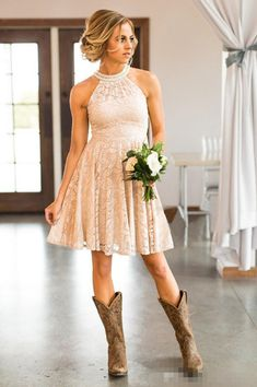 Modern nude country bridesmaid dresses 2017 a line halter short mini formal party gowns beach wedding guest wear maid of honor gowns bridesmaid dress uk Robes Country, Country Western Dresses, Country Bridesmaid Dresses, Bridesmaid Dresses Plus Size, Lace Bridesmaids, Country Dresses With Boots, Cowgirl Dresses, Hippie Dresses, Country Chic