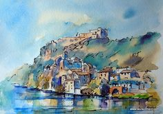 Miravet Castle (Tarragona) (Ink & Watercolor) Pen And Wash, Ink Wash, Watercolor Ideas, Watercolor And Ink, Pen Sketch, Sketches, Travel Sketchbook, Ink Paintings, Meli Melo