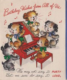 Vintage Greeting Card Dogs Singing Piano Puppy Hallmark 1940s e868