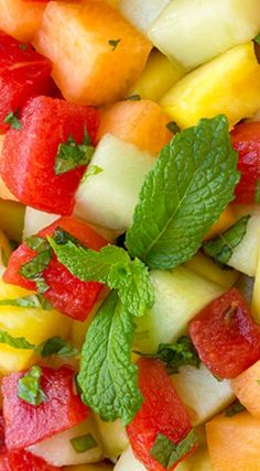 Melon Fruit Salad with Honey, Lime and Mint Dressing