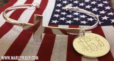 Monogrammed German Silver Cross Bracelet | Marley Lilly