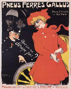 1901 Pneus Ferres Gallus, France  illustrated by Jules-Alexandre Grün