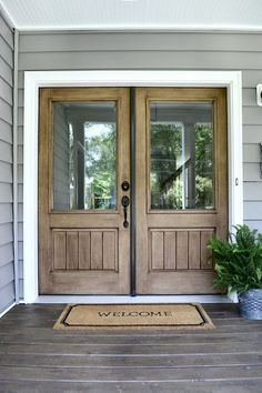 Wood Front Doors, Farmhouse Front Doors, Farmhouse Exterior Source by sweetthreadsco Entry Way Design, Front Door Design, Entrance Design, Wood Front Doors, Front Door Entrance, Farmhouse Front Doors, Wooden Doors, Double Front Entry Doors, Front Porch