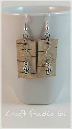 Birch Bark Earrings with Pinecone Charms $18.99